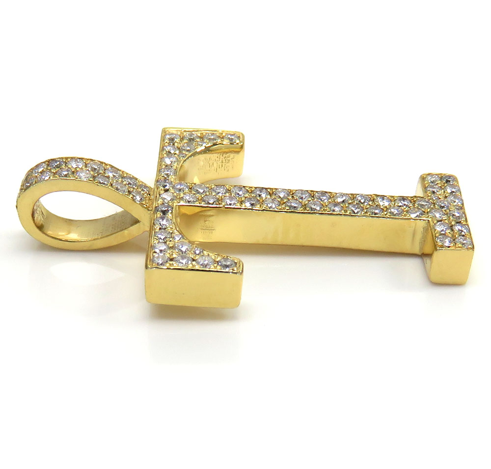 10k yellow gold diamond custom made initial pendant 0.50ct
