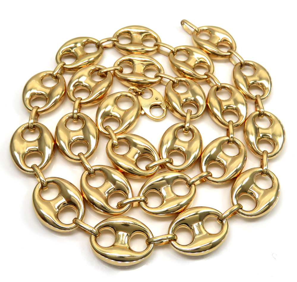 10k yellow gold hollow gucci link chain 24 inch 16.50mm