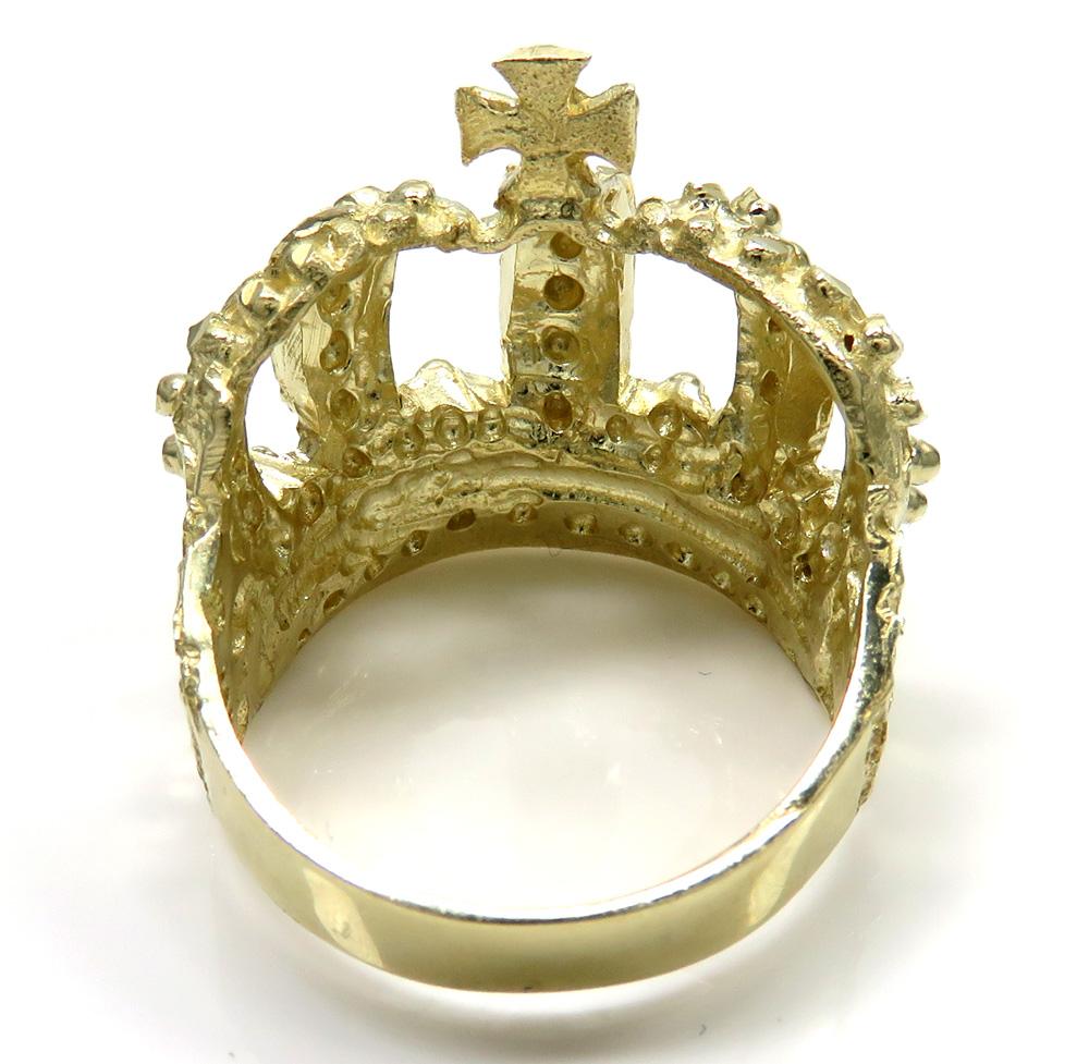 10k yellow gold nugget kings crown ring