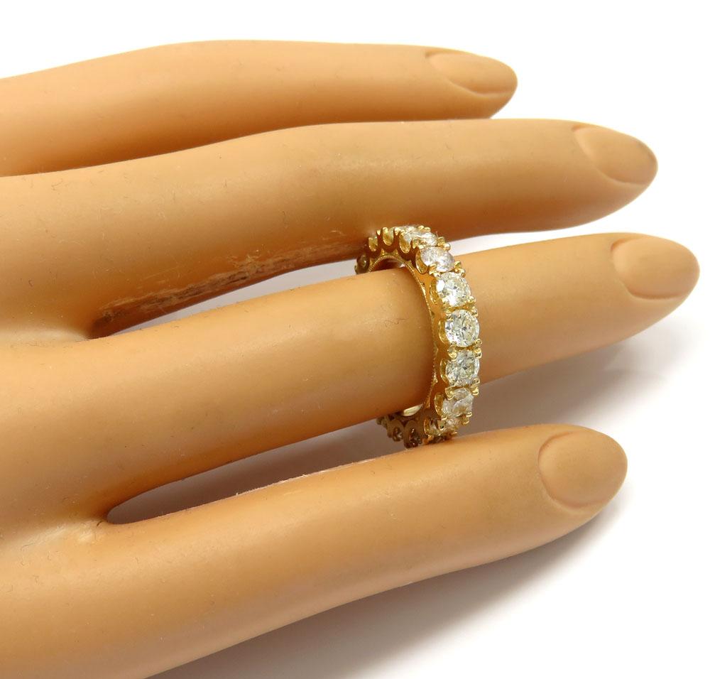 14k yellow gold comfort grip eternity diamond wedding band 3.45ct