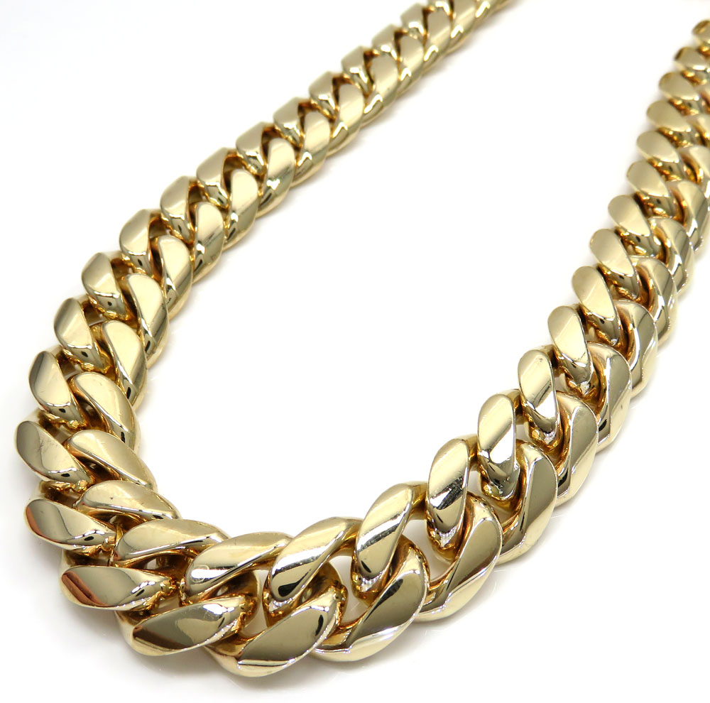 14k yellow gold solid miami link chain 26- 30 inch 15mm