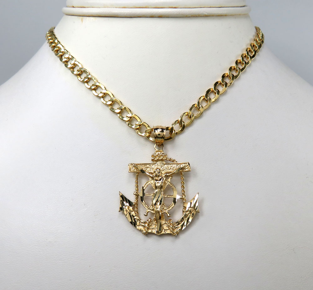 14k solid yellow gold anchor jesus pendant aloadofball