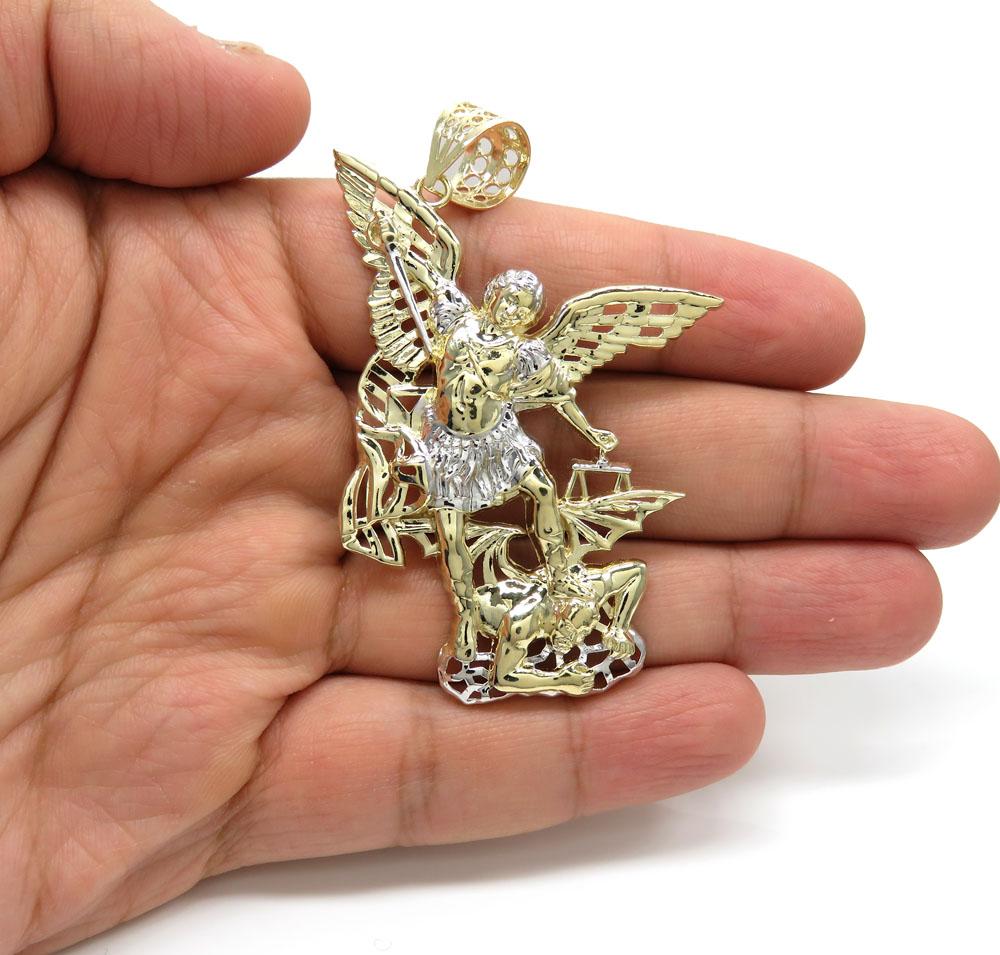 10k two tone gold large angel v demon saint michaels pendant