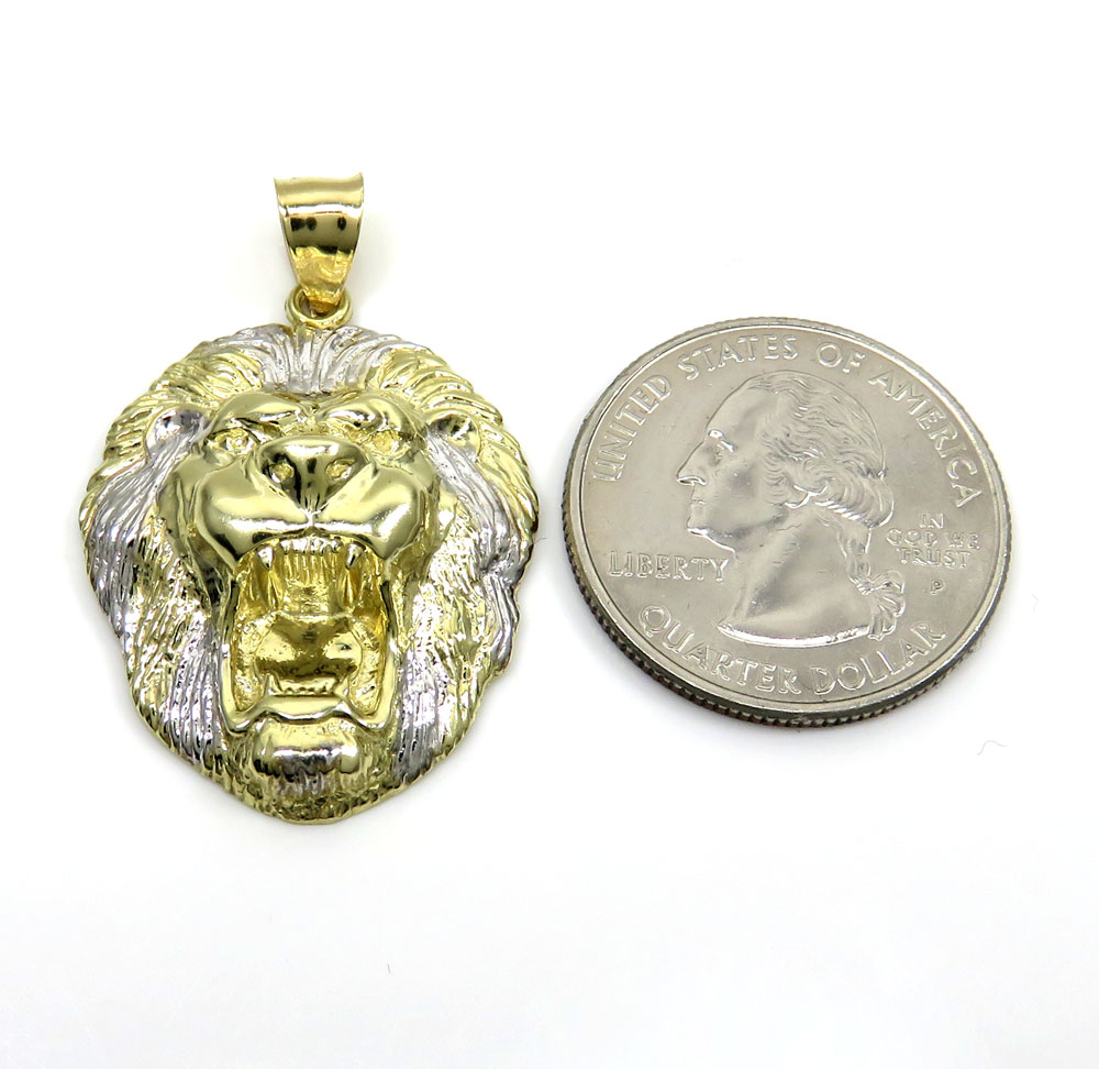 10k two tone gold medium 3d lion head pendant