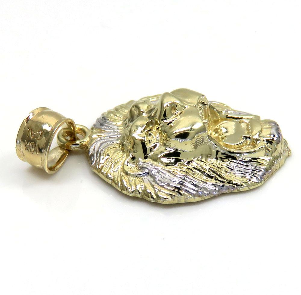 10k gold mini 3d lion head open back pendant