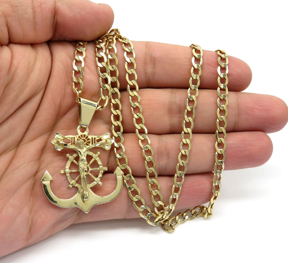 1a54eb10aac17 10K Yellow Gold Large Anchor Jesus Pendant With 26 Inch 5.20mm Cuban ...