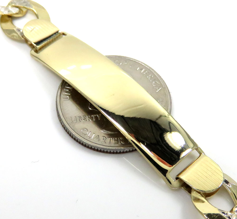 14k yellow gold diamond cut cuban id bracelet 8.75 inch 11.30mm