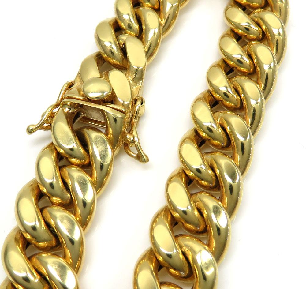 10k yellow gold hollow miami bracelet 8.5 inch 12.20mm