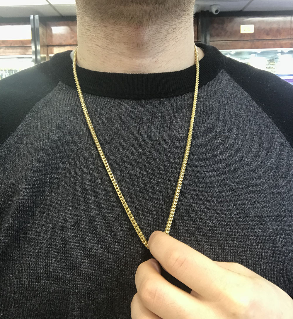 14k yellow gold solid franco chain 3.2mm 26