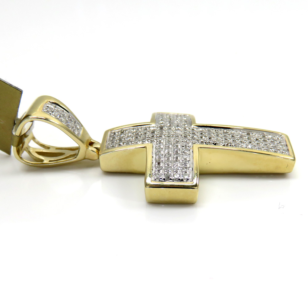 10k yellow gold 4 row diamond cross pendant 0.69ct