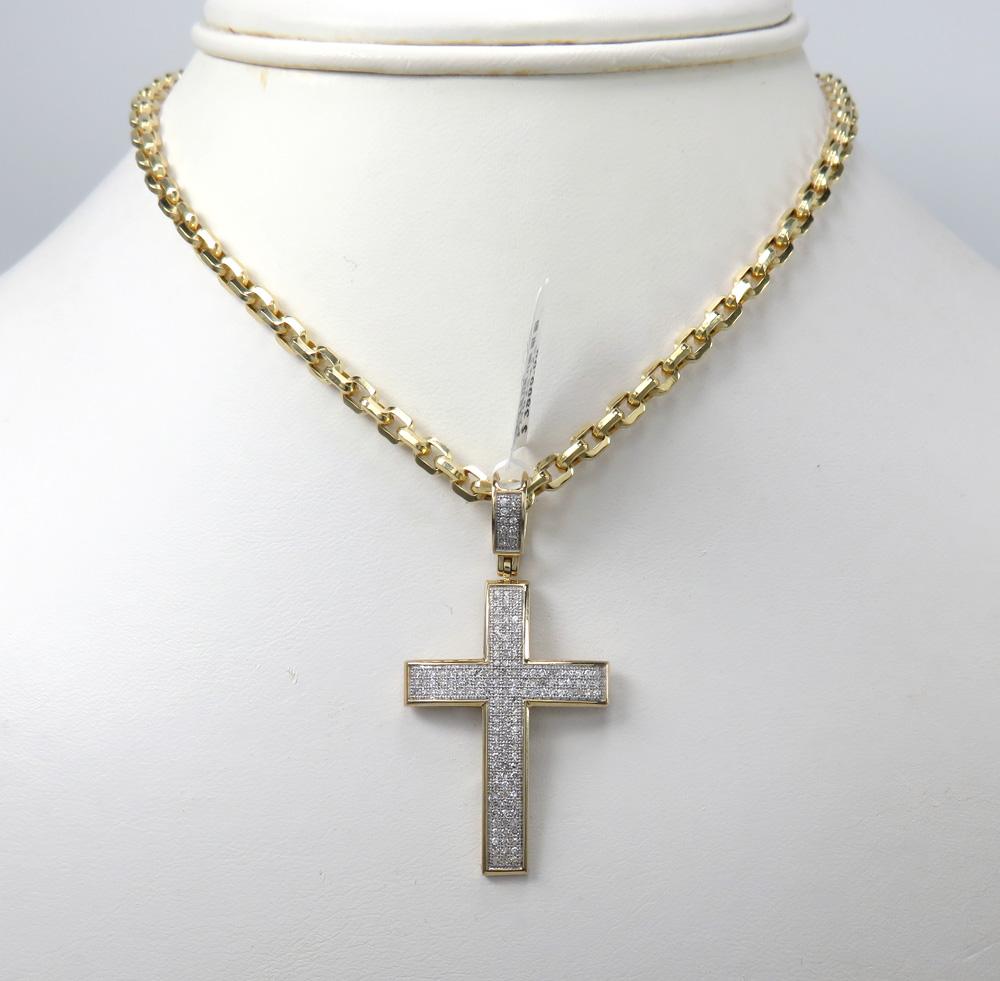 14k yellow or white gold 3 row diamond cross pendant 0.50ct