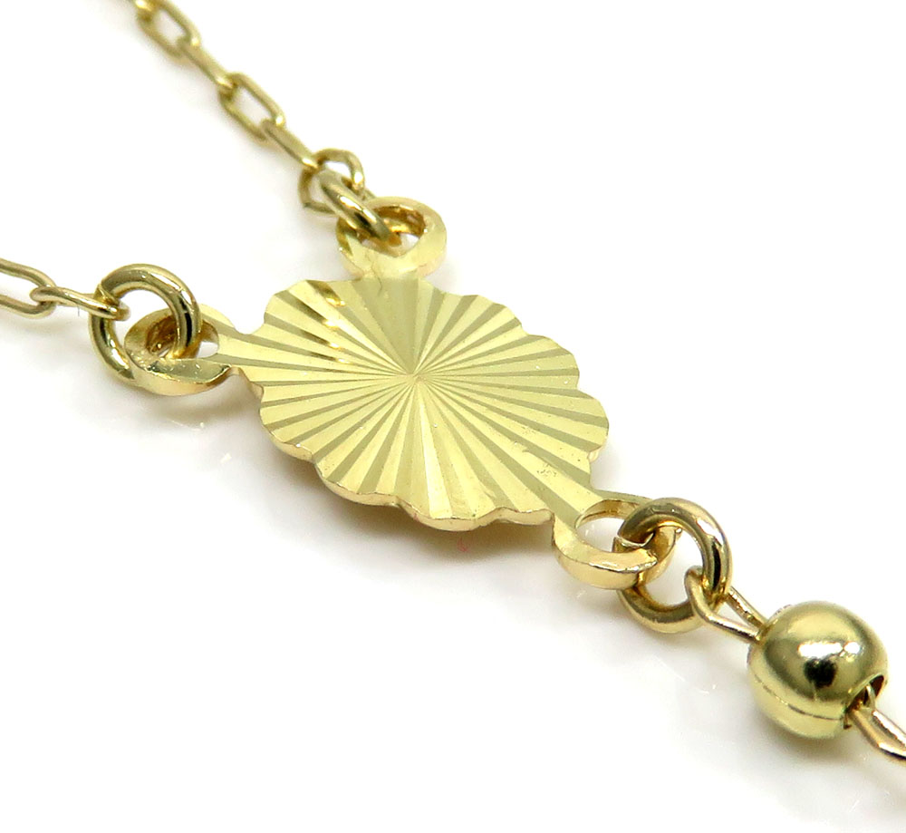 14k yellow gold smooth bead rosary chain 26 inch 3mm