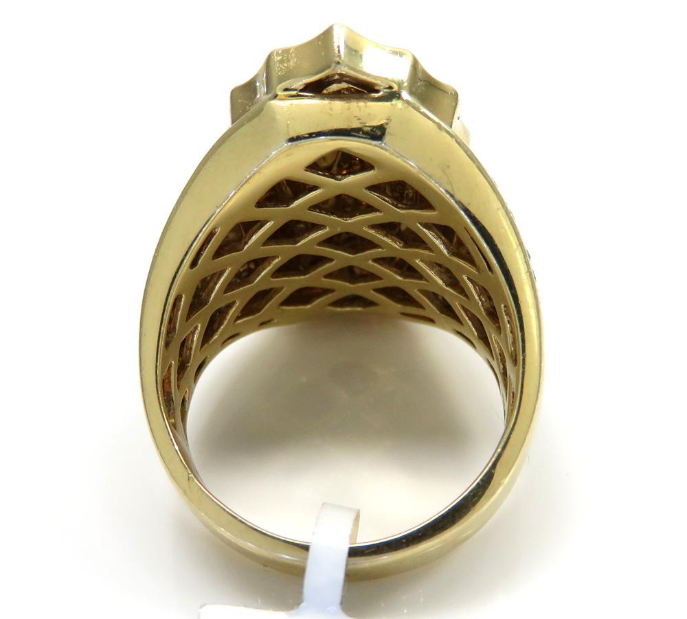 10k yellow gold white red & green diamond virgin mary ring 1.66ct