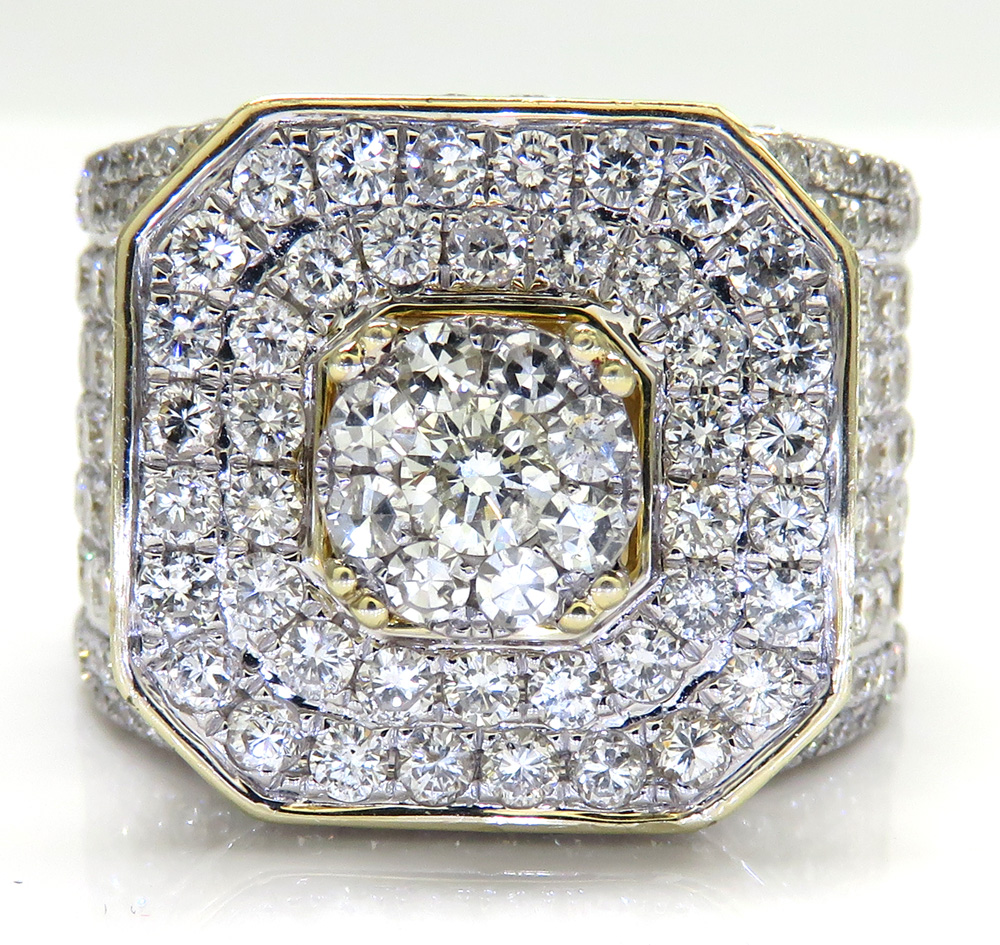 10k yellow gold fully iced out diamond xl ring 8.41ct
