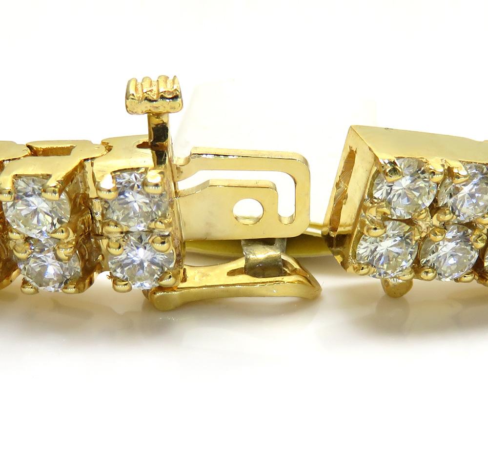 10k yellow gold 2 row diamond tennis bracelet 8 inch 14.23ct
