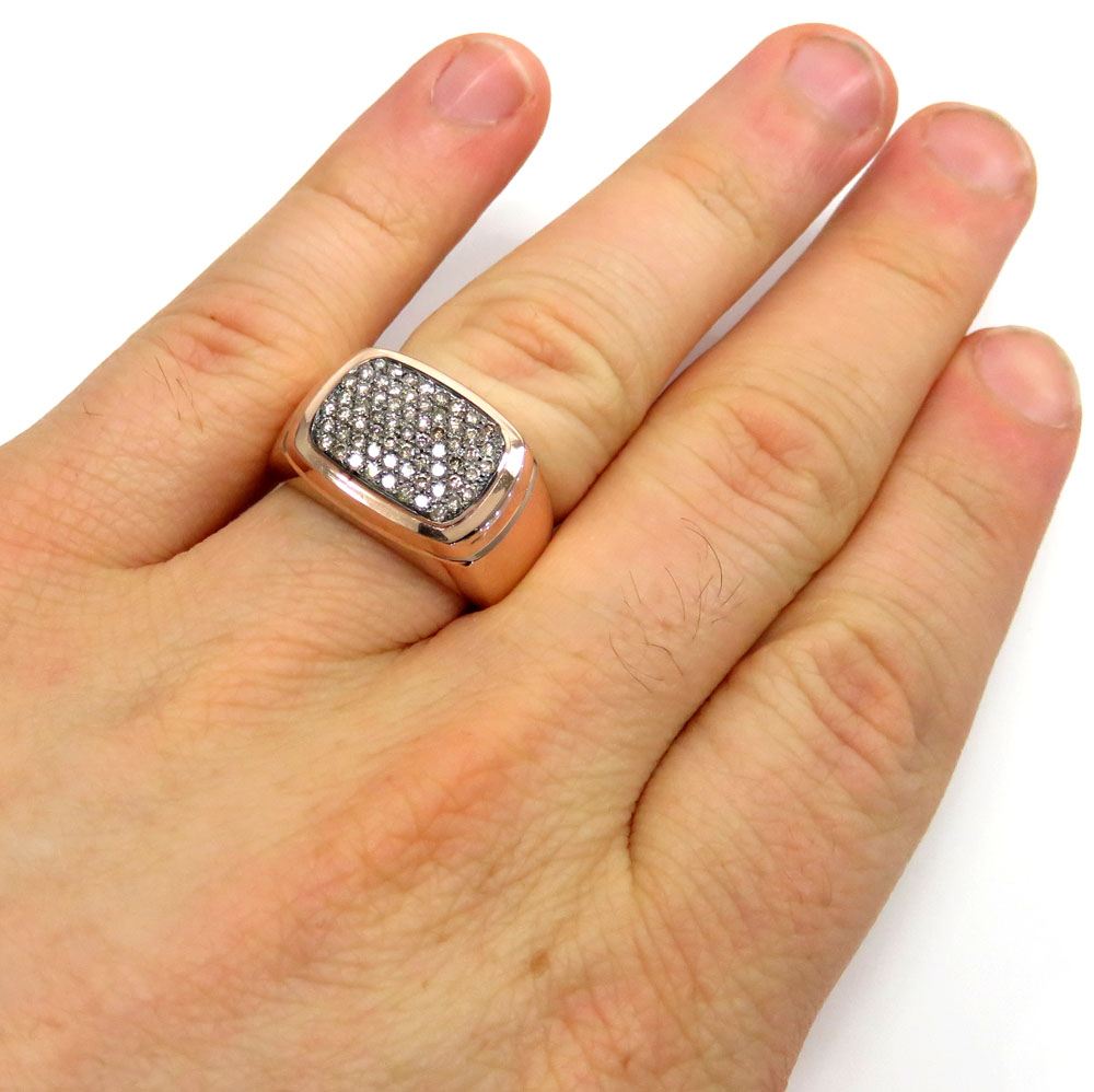 14k rose gold brown diamond dome pave band ring 0.78ct