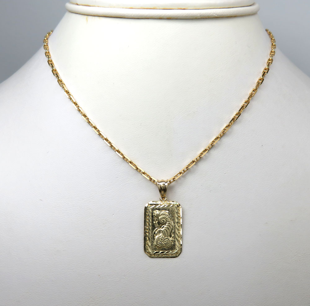 10k yellow gold mini gold bar pendant