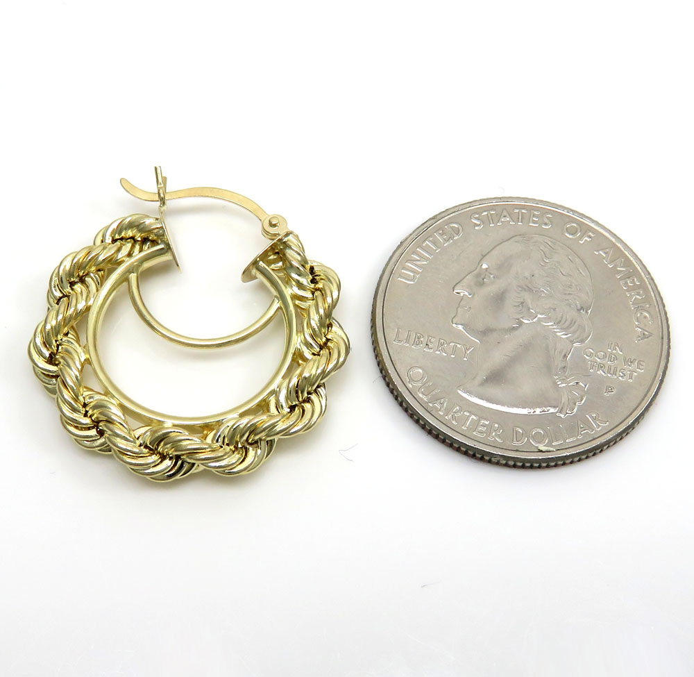 Ladies 10k yellow gold small rope hoops