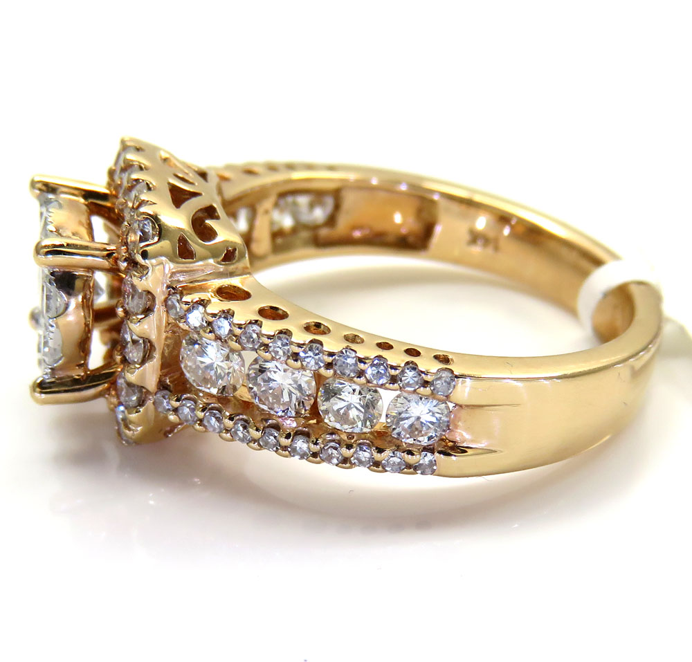 14k rose gold round diamond square halo engagement ring 1.71ct