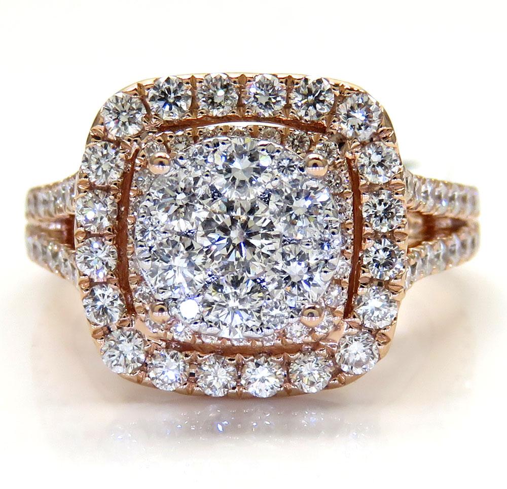 14k rose gold round diamond square halo engagement ring 1.64ct
