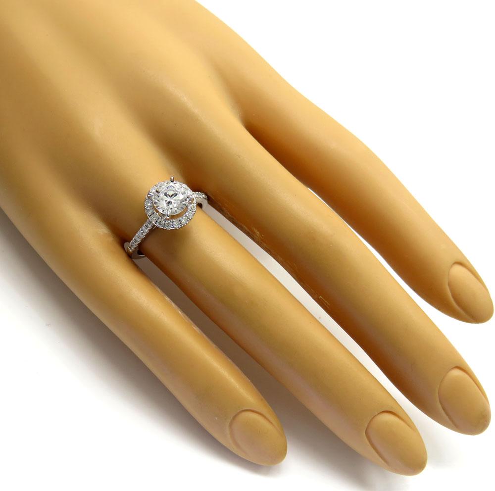 Ladies 14k white gold round diamond halo engagement ring 0.37ct