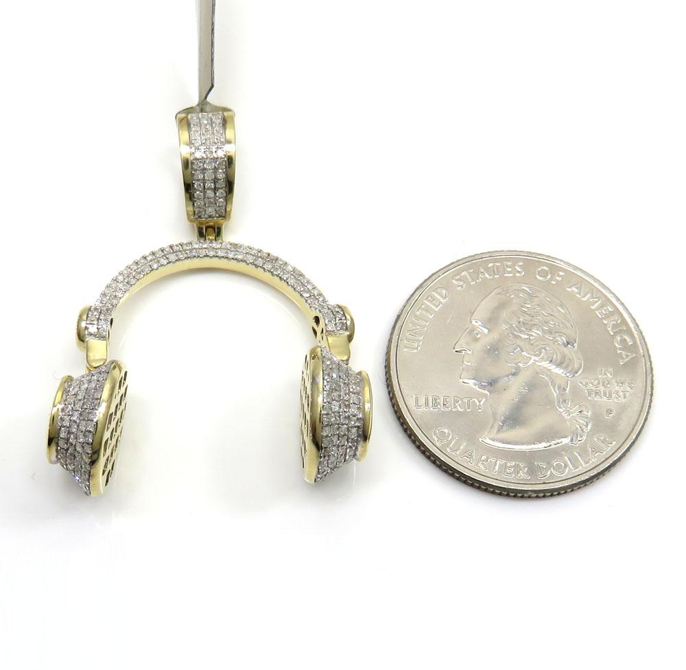 10k yellow gold diamond headphone pendant 0.75ct