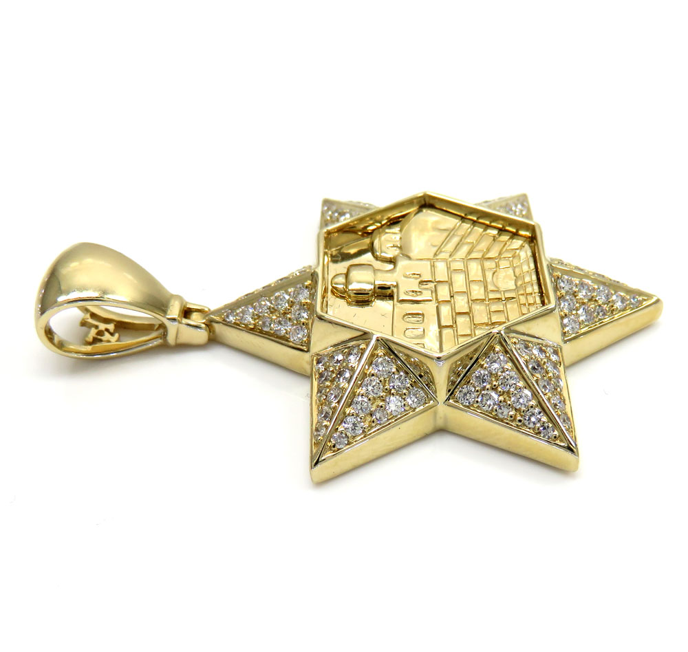 14k yellow gold diamond star of david pendant 1.06ct