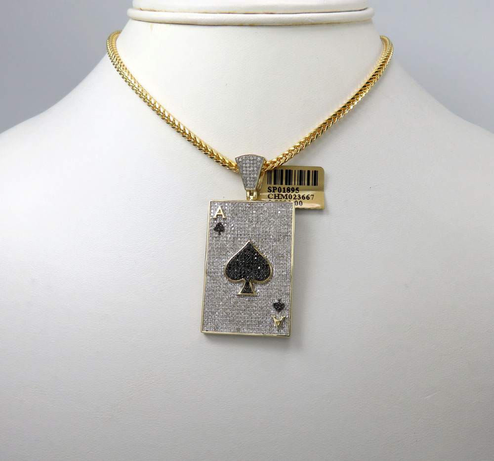 10k yellow gold black & white diamond ace of spades pendant 1.58ct