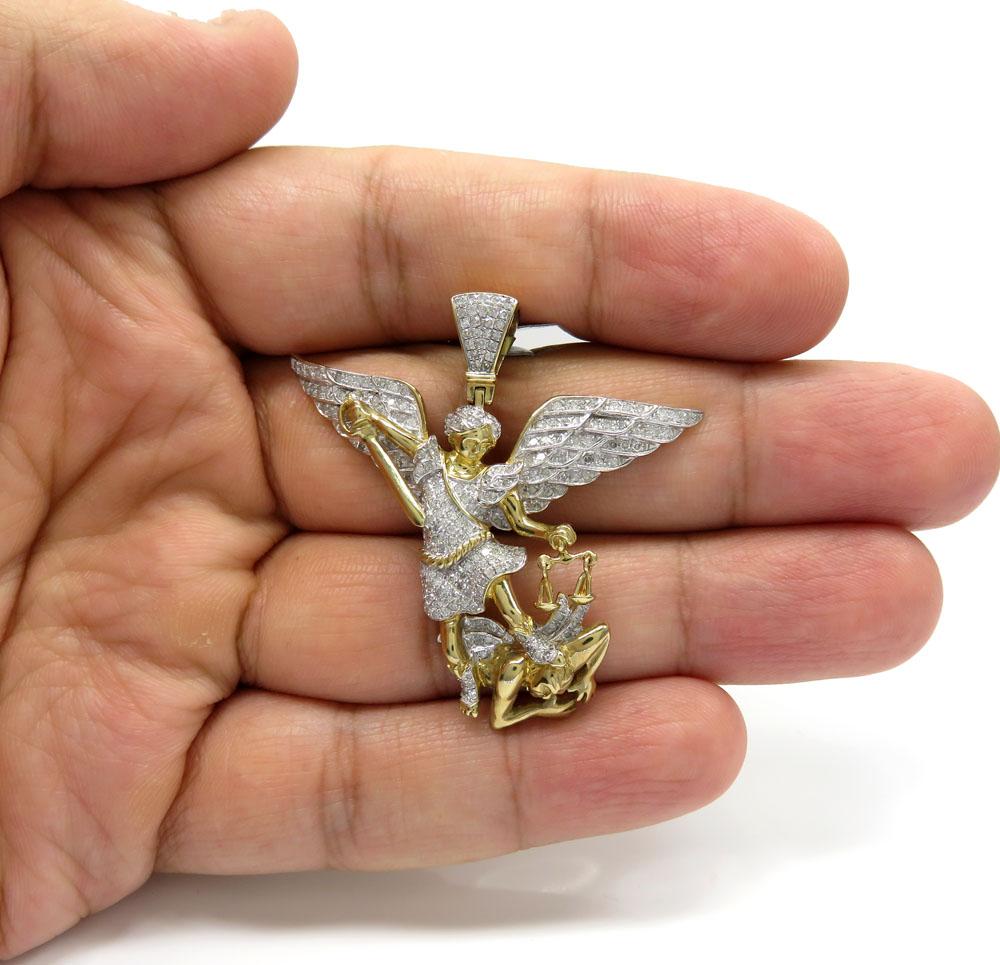 10k yellow gold large diamond angel vs demon pendant 1.12ct