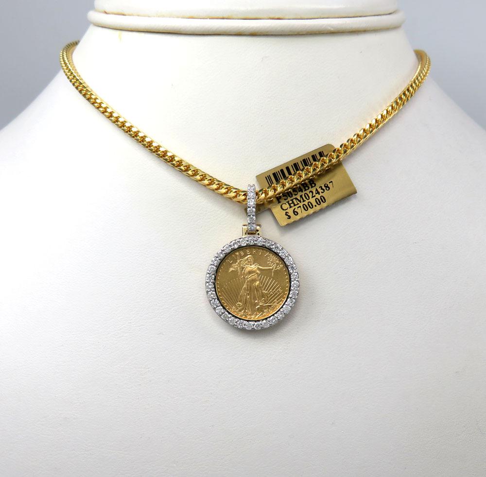 10k yellow gold diamond liberty coin pendant 0.60ct