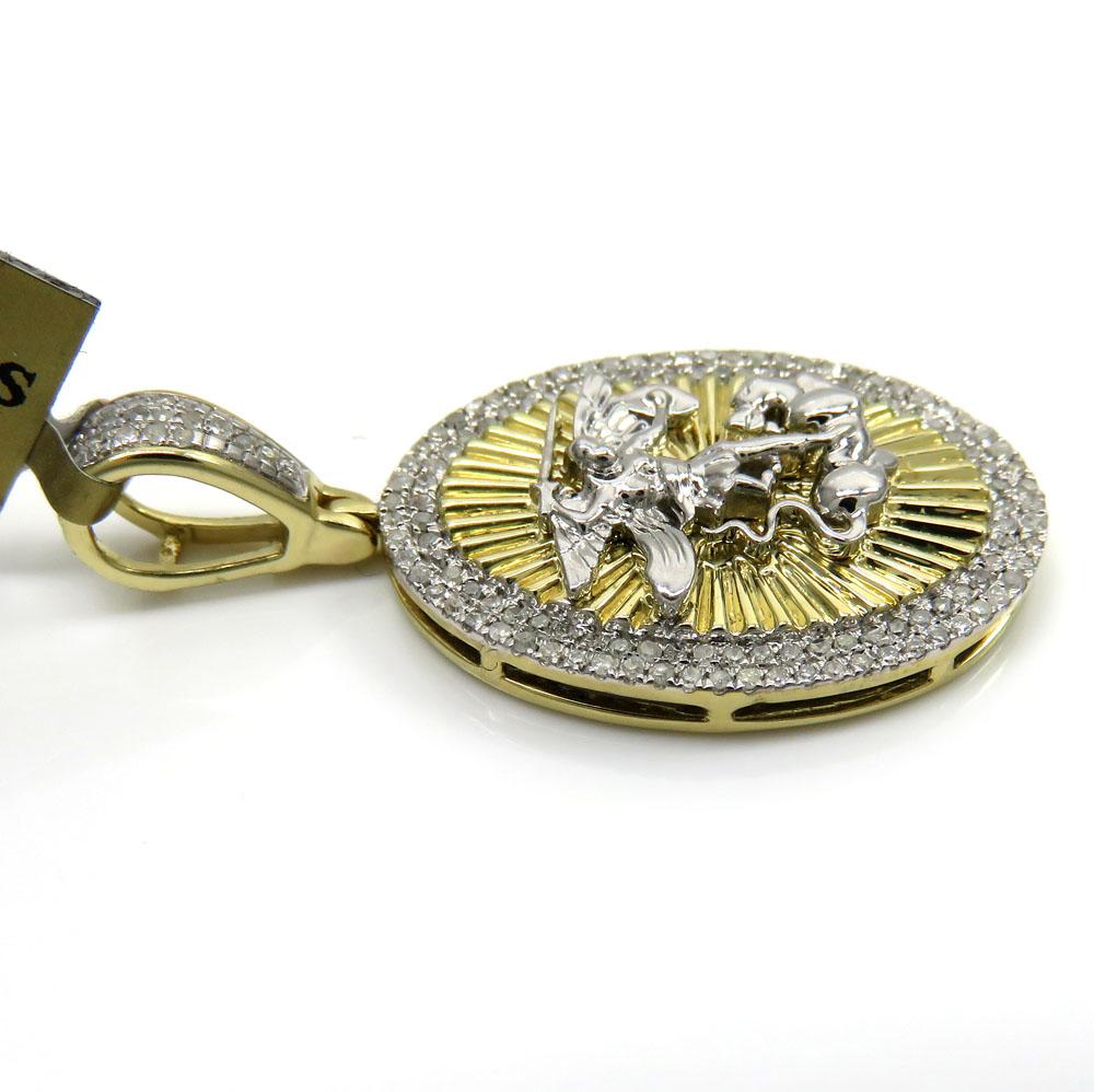 10k yellow gold 2 row round diamond saint michaels pendant 0.35ct