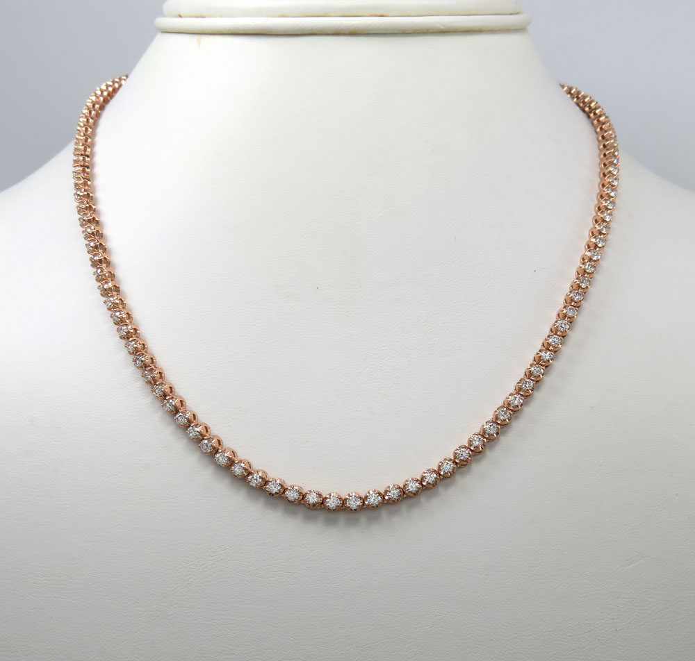 10k rose gold round 5 pointer diamond tennis chain 18-26 inches 3.50mm 7.70ct