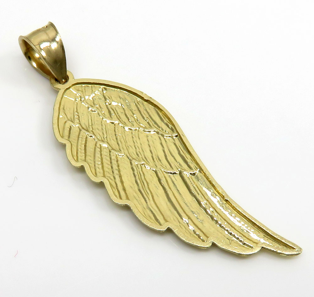 14k yellow gold medium diamond cut angel wing pendant