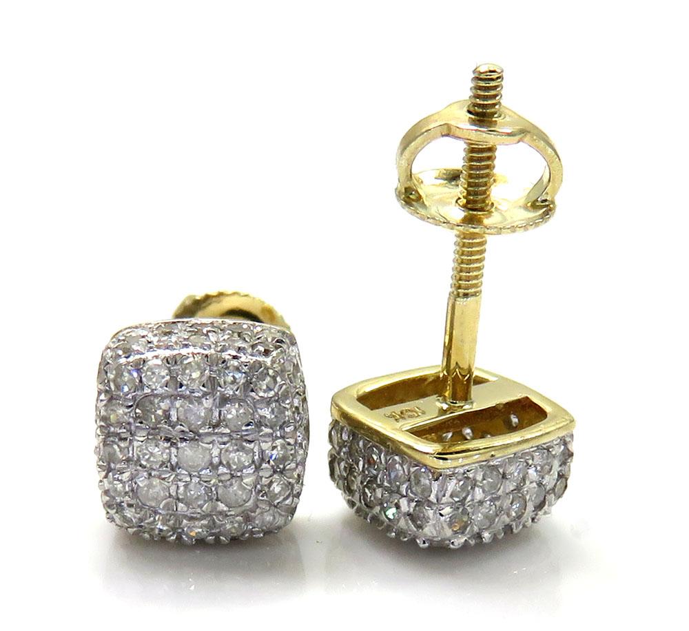 10k yellow gold diamond 7 row cube earrings 0.55ct