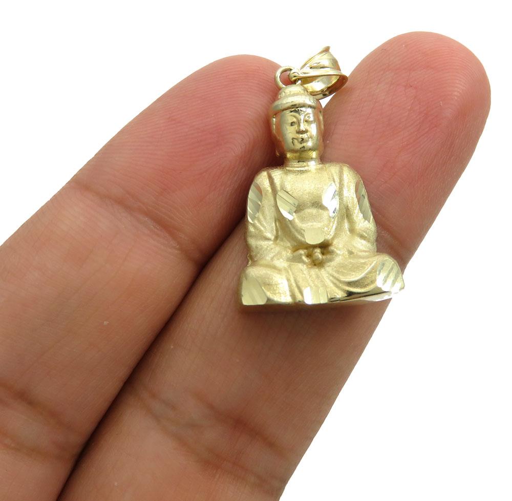 10k yellow gold small diamond cut buddha pendant