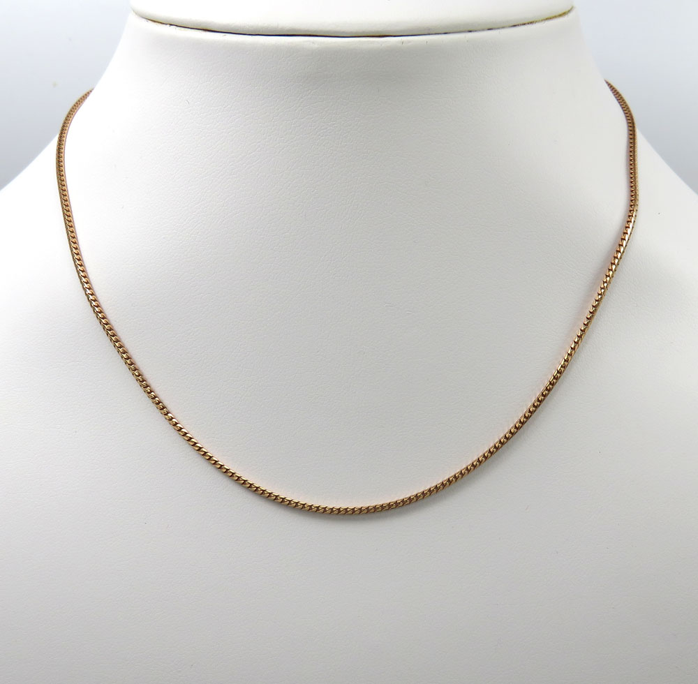 14k rose gold skinny solid tight franco link chain 18-24 inches 1.5mm