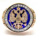 14K Rose Gold Blue Enamel Diamond Russian Eagle Ring 1.75CT