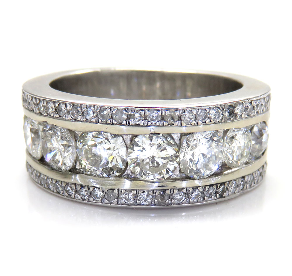 14k white gold jumbo diamond wedding band ring 3.60ct