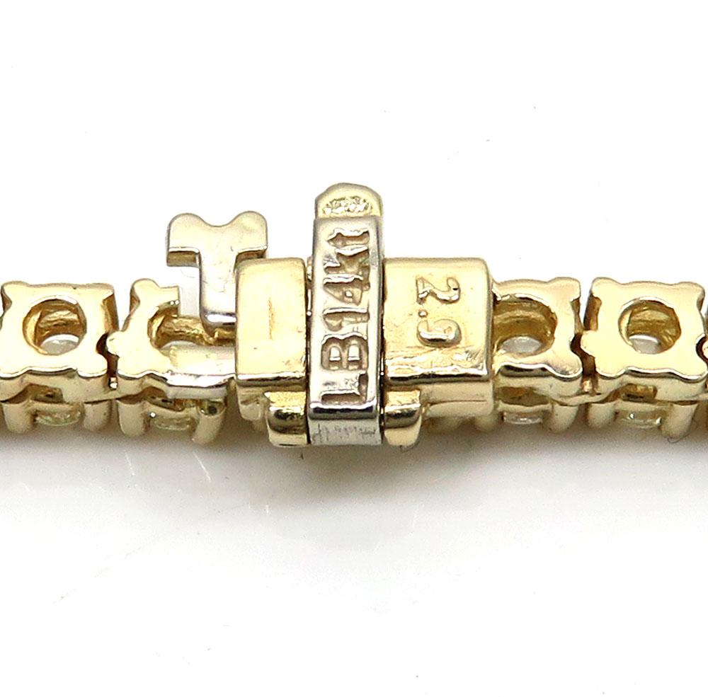 14k yellow gold round 25 pointer diamond tennis chain 24 inches 4.5mm 32.00ct