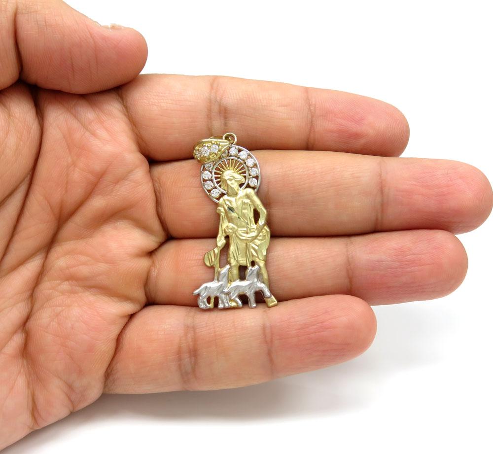 10k two tone gold large saint lazarus of bethany cz pendant 0.70ct
