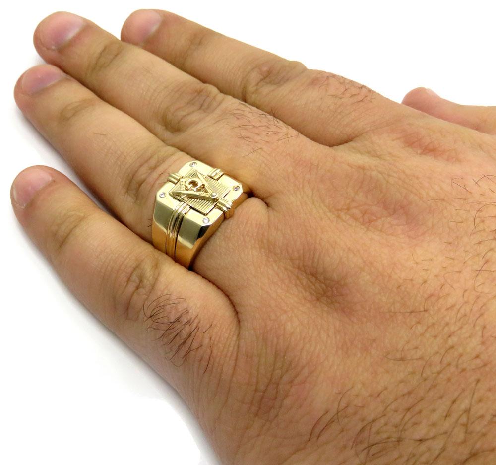 14k yellow gold cz free mason g ring 0.08ct