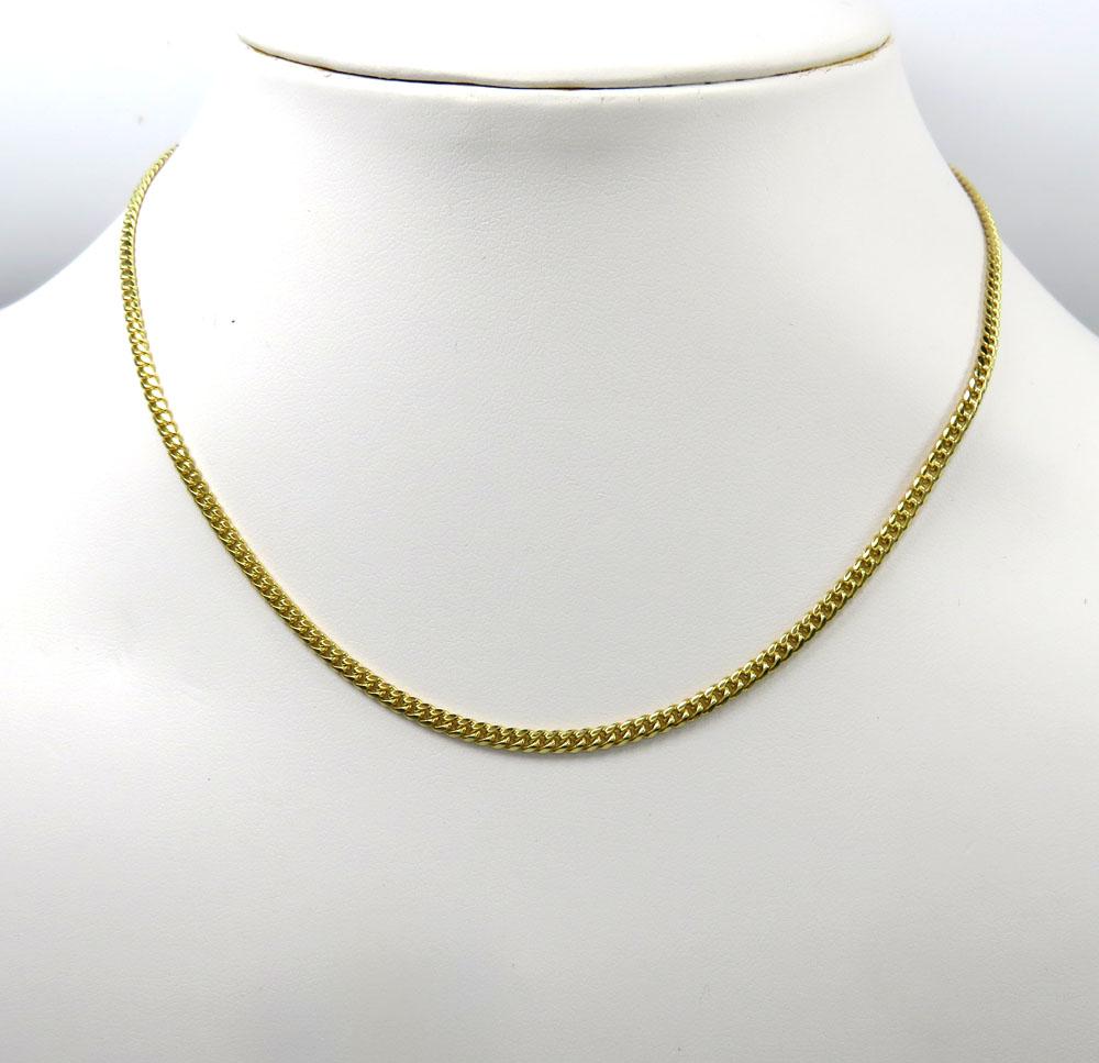 14k yellow gold skinny tight link miami chain 20-24