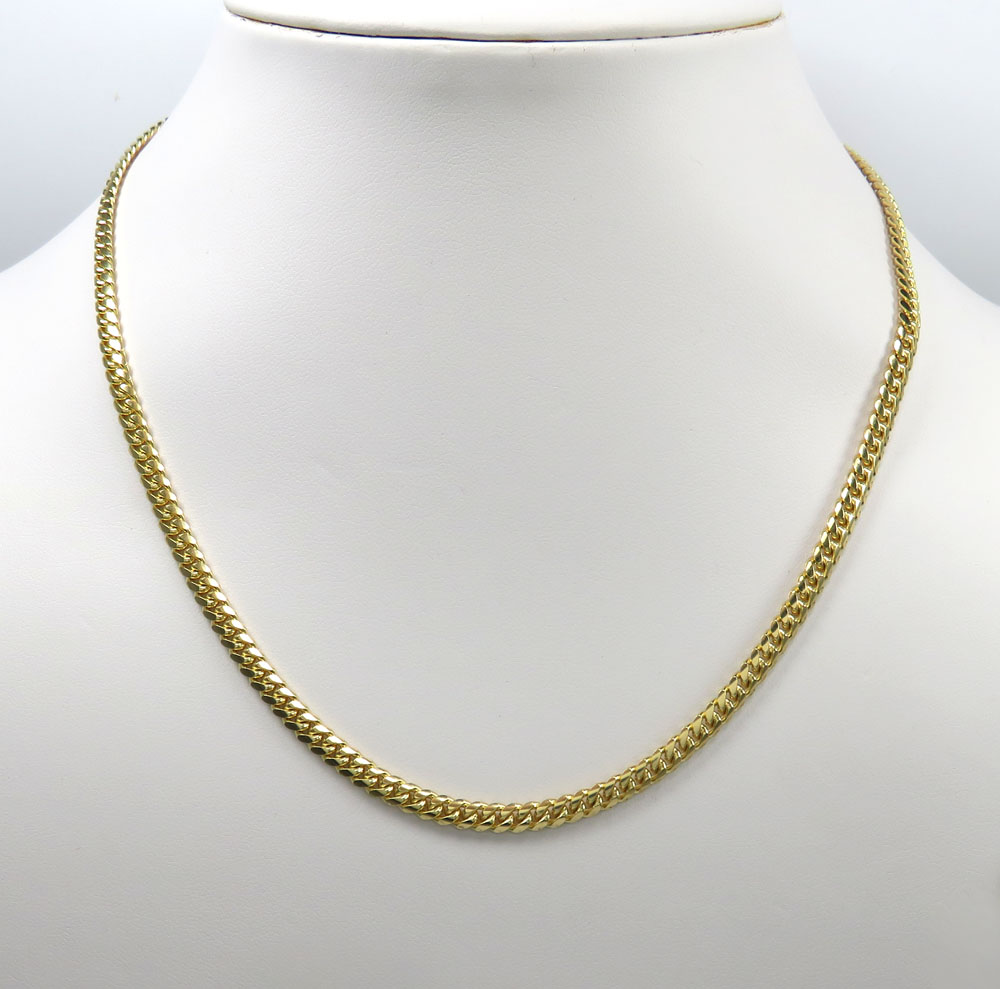 14k yellow gold solid miami link chain 18-24 inch 4.20mm