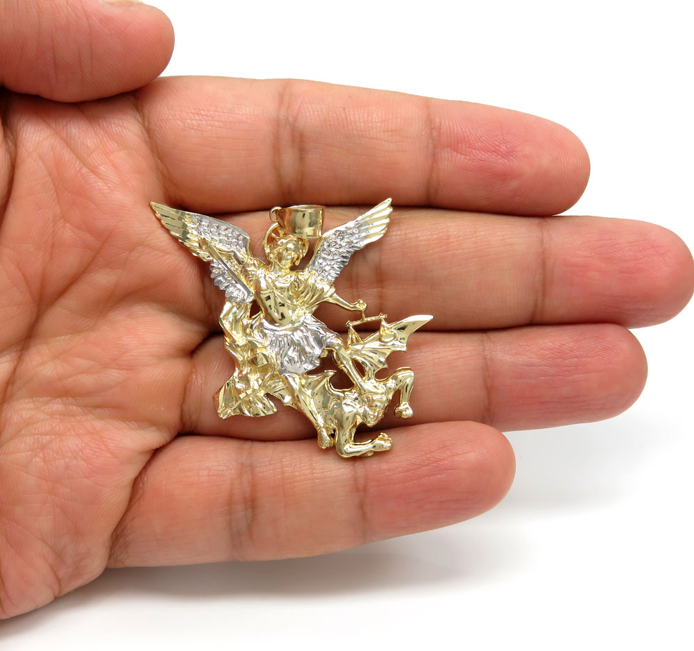 14k two tone gold angel vs demon large pendant