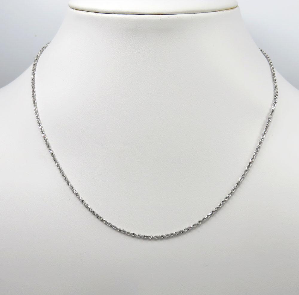 14k white gold skinny diamond cut rope link chain 16-22 inch 1.50mm