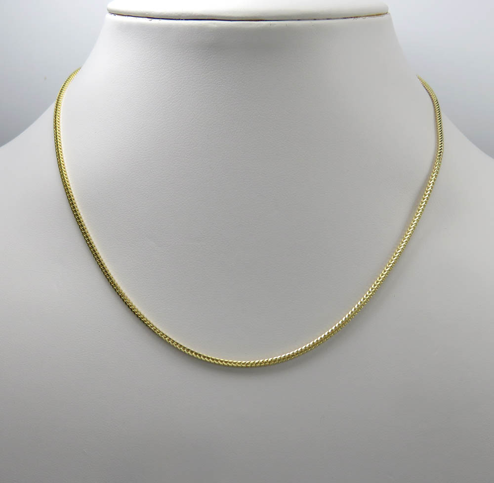 14k yellow gold skinny solid tight franco link chain 22-24 inches 1.5mm