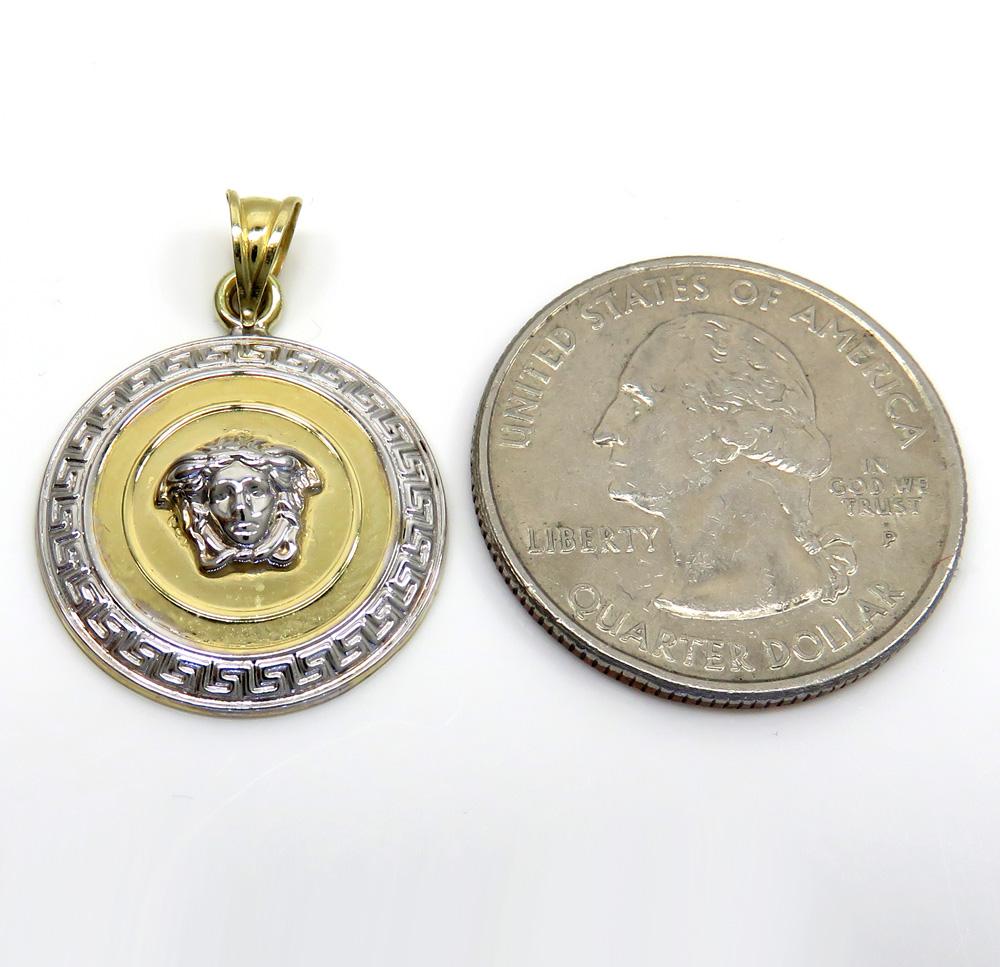 14k two tone medusa head small pendant