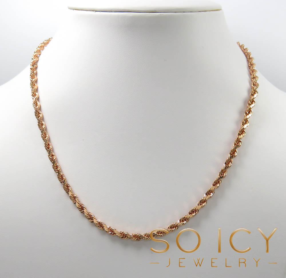 14k rose gold solid diamond cut rope chain 22-26 inches 3.5mm
