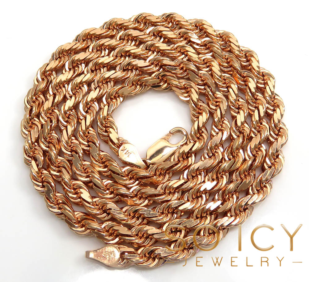 14k rose gold solid diamond cut rope chain 22-26 inches 4mm
