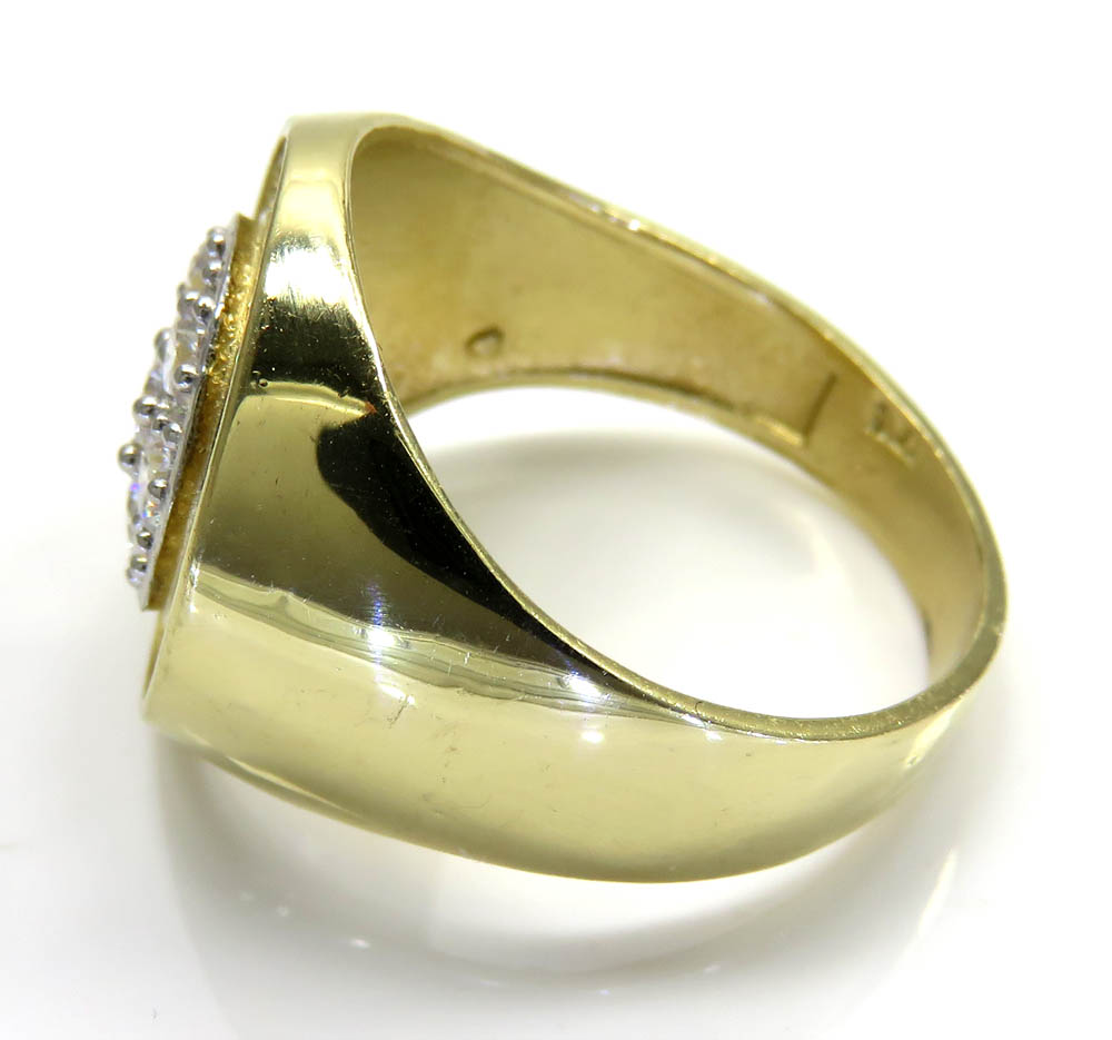 Mens 14k yellow gold cz cluster double circle ring 1.80ct
